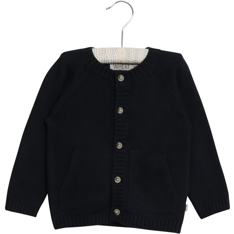 Wheat, Knit Cardigan Classic, Navy