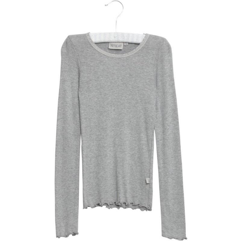 Wheat, T-shirt rib lace LS, Grey melange