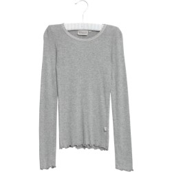 Wheat, T-shirt rib lace LS, Grey melange, STR 8ÅR