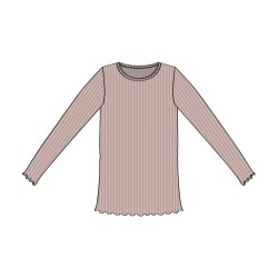 Wheat, Rib lace t-shirt, Rose powder