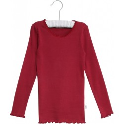 Wheat, Rib junior t-shirt lace LS, Dark berry