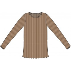 Wheat, Rib lace t-shirt, Caramel
